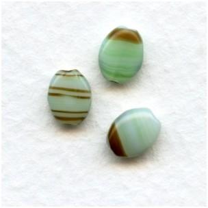 ^Green Quartz 8x6mm Flat Oval Beads from Czech Republic