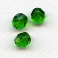 ^Emerald Glass Fire Polished Round Faceted Beads 8mm