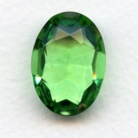 Peridot Glass Oval Unfoiled Jewelry Stone 25x18mm (1)