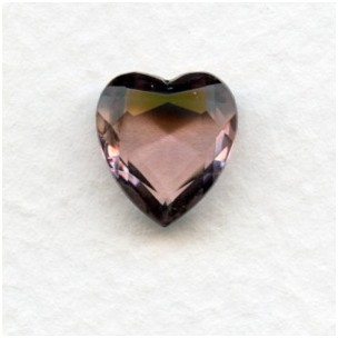 Light Amethyst Glass Heart-Shapes Unfoiled 12x11mm