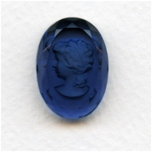 Montana Blue Etched Crystal Portrait Intaglio 25x18mm