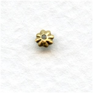 Smallest Fluted Bead Caps 3mm Raw Brass (50)
