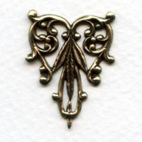 Foliate Detail Filigree Triangle Oxidized Brass 29mm (2)