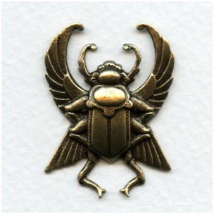 Winged Egyptian Beetle Oxidized Brass 35mm (1)