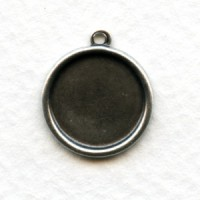 *Simple 13mm Settings Oxidized Silver (6)