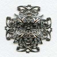 Ornate Filigree 47mm Cross Shape Oxidized Silver (1)