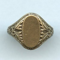 Adjustable Finger Ring Oak Leaf Details Oxidized Brass (1)