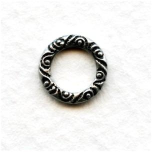 Scroll Edge 9.5mm Connector Ring Oxidized Silver (12)