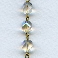^Crystal AB Round 8mm Bead Gold Linkage Rosary Chain (1 foot)