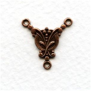 Small Elegant 3 Loop Connectors 17x17mm Oxidized Copper (6)