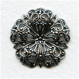 Flower Dapt Round Filigree 29mm Oxidized Silver (3)