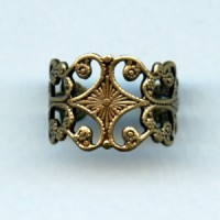 *Sturdy Filigree Adjustable Finger Ring Oxidized Brass (1)
