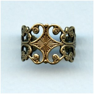 Very Sturdy Filigree Adjustable Finger Ring Oxidized Brass plated steel (1)