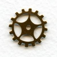 Steampunk Gears Oxidized Brass 19mm (12)