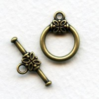 Floral Detail Toggle Set Oxidized Brass 21mm