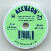 ^Acculon .61mm Antique Gold Nylon Coated Beading Wire (30 Ft.)