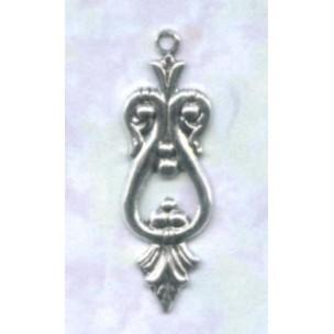 ^Ornate Small Drops Oxidized Silver 25mm (12)