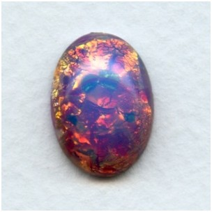 Pink Fire Opal Glass Cabochon 18x13mm (1)