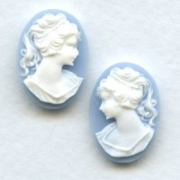 Girl in a Ponytail Cameos 18x13mm White on Blue