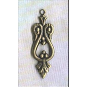 ^Ornate Small Drops 25mm Oxidized Brass (12)