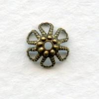 Nailhead Detail Bead Caps Oxidized Brass 7mm (24)