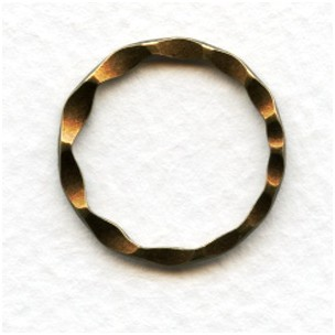 Hammered Round 21mm Connector Rings Oxidized Brass (6)