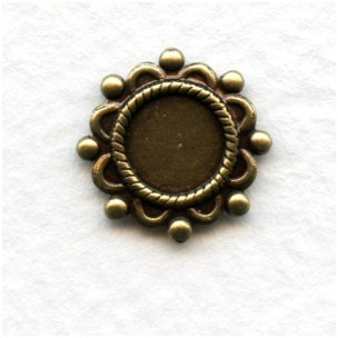 Ornate Details Oxidized Brass Settings 7mm (12)