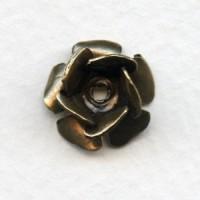 Layered Flowers 13mm Oxidized Brass (4)