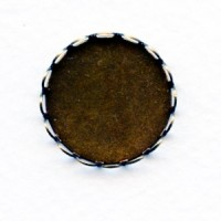 Lace Edge Settings Round 20mm Oxidized Brass (12)