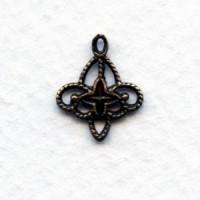 Filigree Connector Drops Oxidized Brass 13x11mm (12)