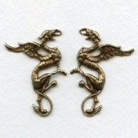 Medieval Style Griffin Stampings Oxidized Brass (1 set)