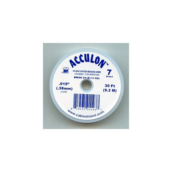 acculon 38mm ivory coated beading wire 30 ft