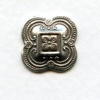 Regal Quatrefoil Design Oxidized Silver 13mm (6)