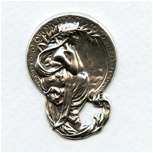 Art Nouveau Maiden Medallion Oxidized Silver (1)