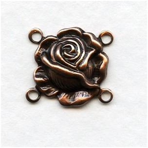 Small Rose Connectors Oxidized Copper 14mm (12)
