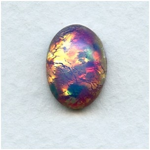 Pink Glass Opal 14x10mm Cabochon Handmade in Germany