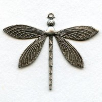 Detailed Large Dragonfly Pendants Oxidized Silver (2)