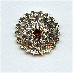 Round Multi Stone Component Crystal and Smoke Topaz 24mm (1)