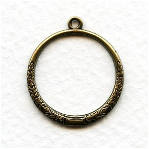Decorative Hoop Pendants Oxidized Brass 22mm (4)