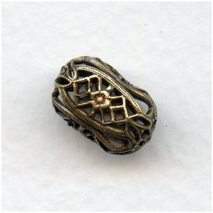 Barrel Shaped Filigree Beads 15mm Oxidized Brass (6)