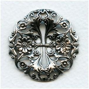 Flower Garden Filigree Oxidized Silver 39mm (1)