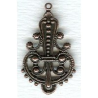 Ornate Pendant Drops Medium Oxidized Copper Plated