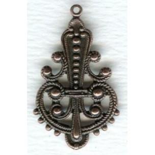 Ornate Pendant Drops Medium 33mm Oxidized Copper ^ (6)