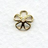 Retro Flower Power Bead Caps 7.5mm Raw Brass (24)