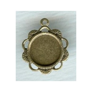 Ornate Pendant 9mm Settings Oxidized Brass (6)
