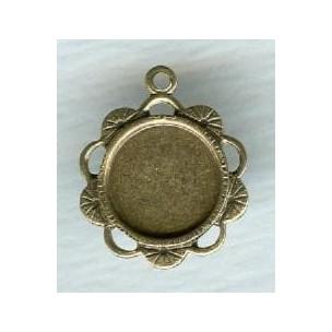 ^Ornate Pendant 9mm Settings Oxidized Brass (6)