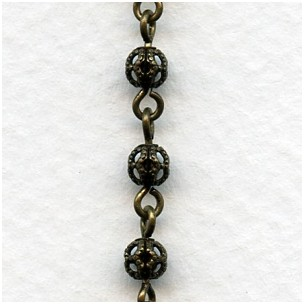 Filigree 4mm Bead Linked Chain Oxidized Brass (1 Ft)