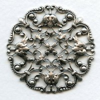 Ornately Detailed Round Filigree Stamping Oxidized Silver (1)