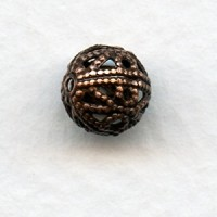 Dramatic Filigree Beads 8mm Round Oxidized Copper