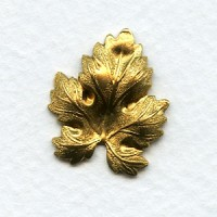 Decorative Maple Leaf Raw Brass Stampings (4)